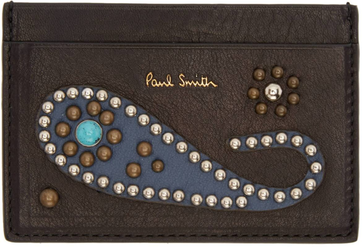 Paul Smith Tough Guy Paisley studded card case