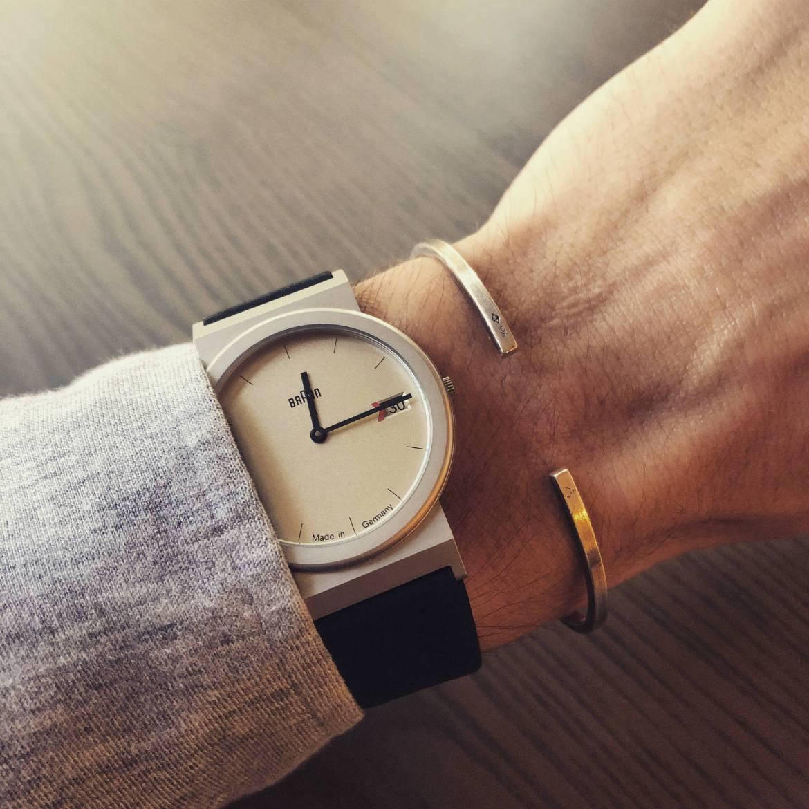 Braun AW50 watch and Le Gramme brushed sterling cuff