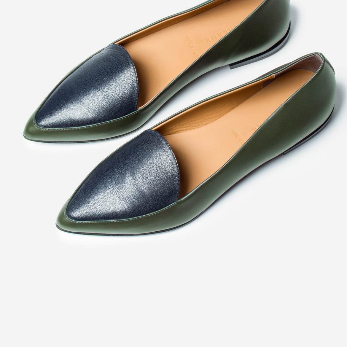 Everlane Modern Point flats in forest/navy, made in Italy