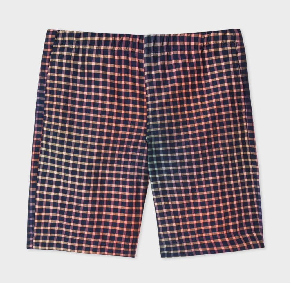 Men's Blue Mid-Length Rainbow Check Shorts
