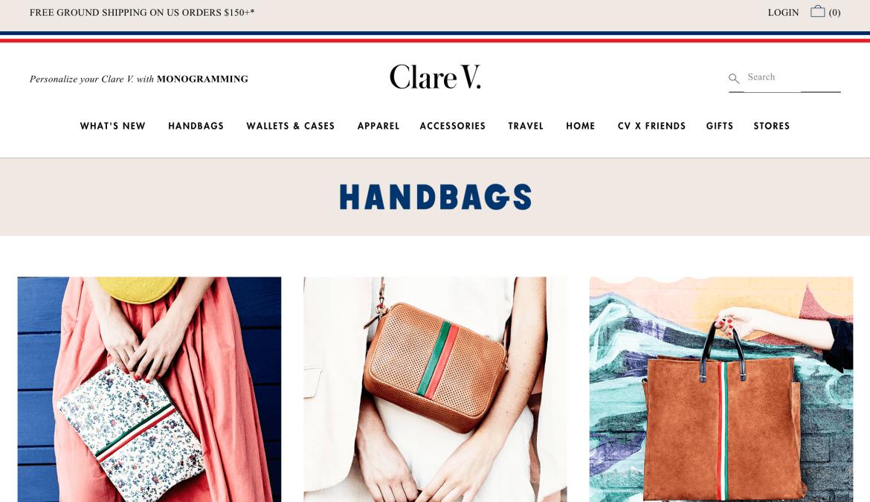 Near luxury handbags  made in Los Angeles by Clare Vivier