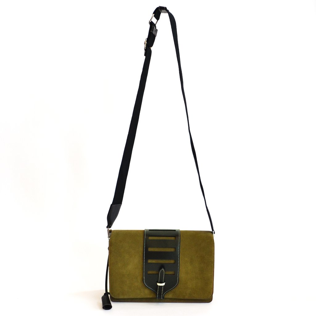 Myriam Schaefer Volpone Grand olive suede crossbody bag,