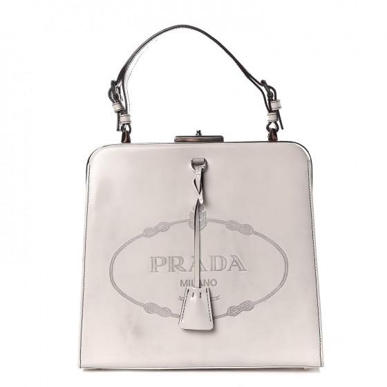 Prada Spazzolato Logo Framed Bag in Quarzo