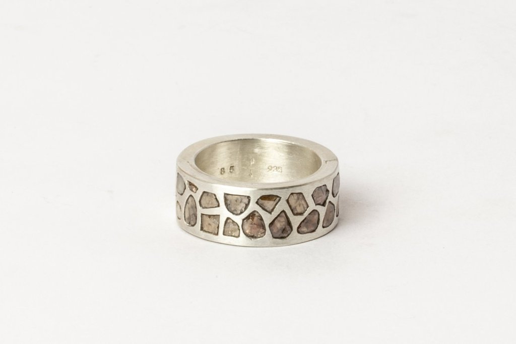 Parts of Four Sistema Ring in sterling silver with mega-pavé rough diamonds