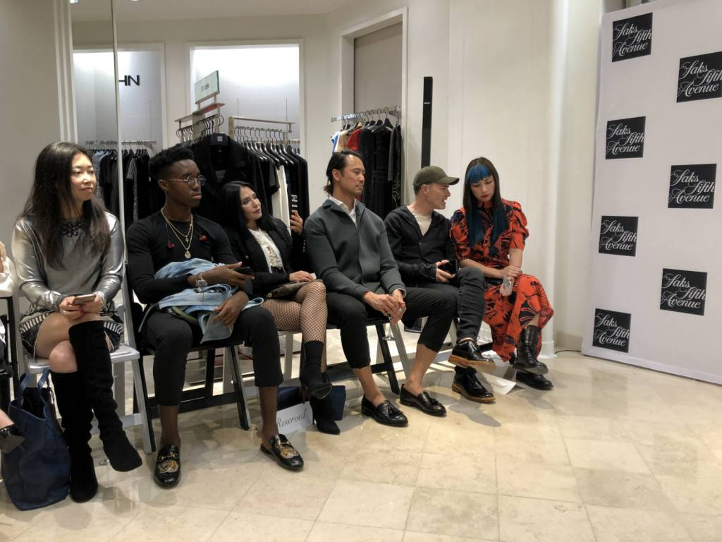 San Francisco Fashion Week 2018 at Saks Fifth Avenue - loved the 3rd from the right guy's outfit - black pants, no socks, spongey green jacket and button-down dress shirt