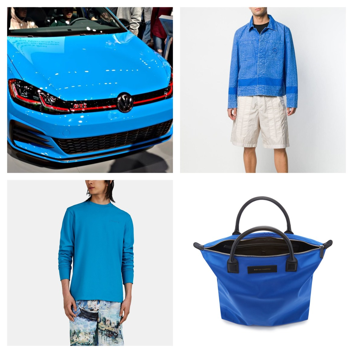 Clockwise from top left: 2019 Volkswagen GTI Rabbit Edition in cornflower blue, Craig Green work jacket, WANT Les Essentiels O'Hare canvas and leather tote, and Aimé Leon Dore logo-embroidered longsleeve t-shirt