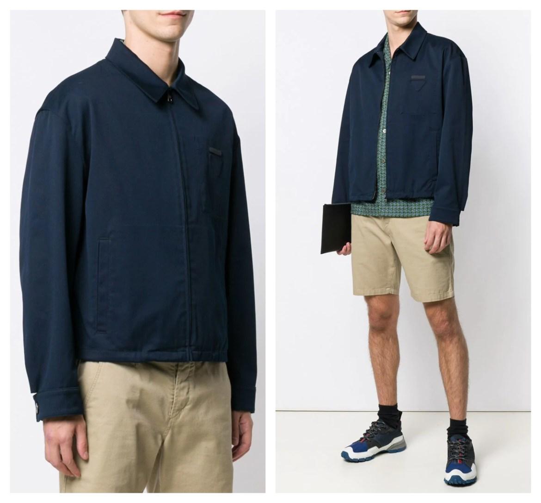 Prada Fall 2019 menswear boxy navy cotton jacket