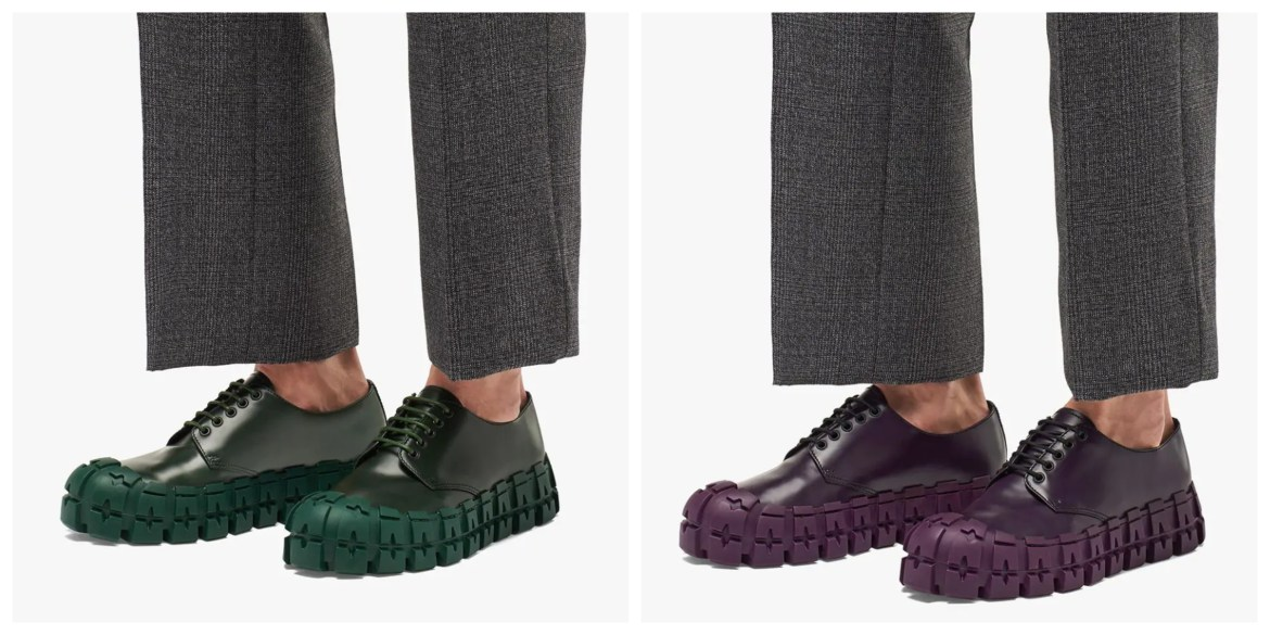 Prada Fall 2019 menswear chunky tread sole derbies in green and purple