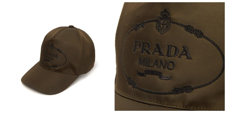 Fashion baseball caps: Prada embroidered-logo nylon baseball cap