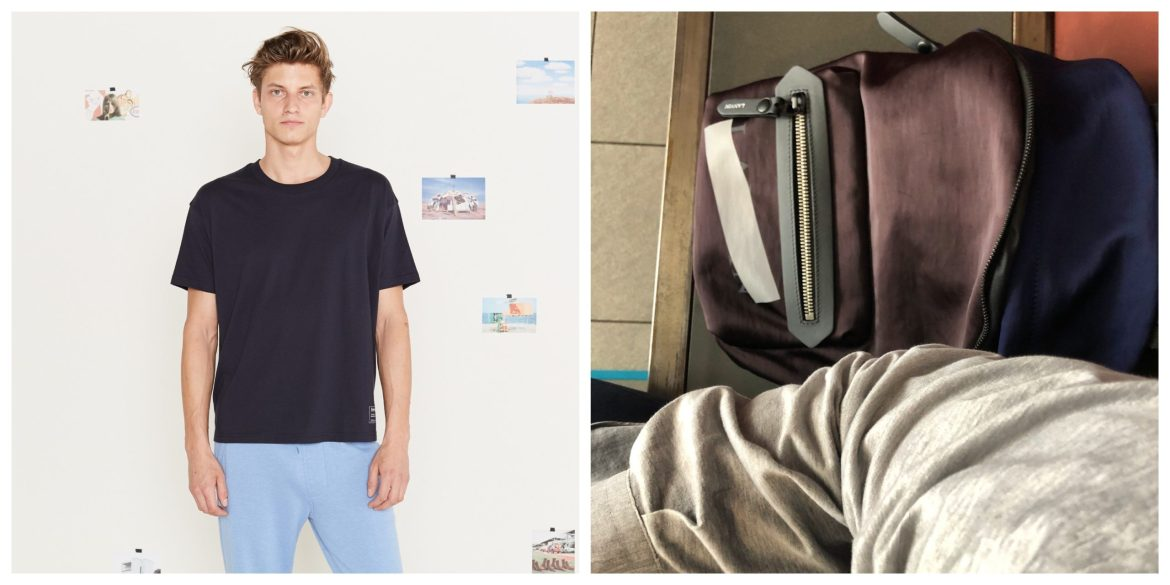 entireworld boxy organic tee shirt and lanvin backpack