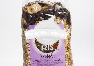 MUSLI 1kg SOLARIS Tratament naturist amestec din fulgi cereale si fructe amestec de fulgi, cereale si fructe