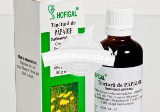 TINCTURA PAPADIE 50ml HOFIGAL Tratament naturist obezitate ateroscleroza angiocolita cronica hepatita cronica