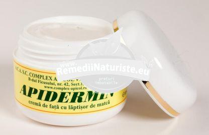 APIDERMIN 30ml FARA CUTIE COMPLEX APICOL Tratament naturist crema cu laptior de matca laptisor de matca regenereaza celulelel pielii stimuleaza circulatia sangelui in piele