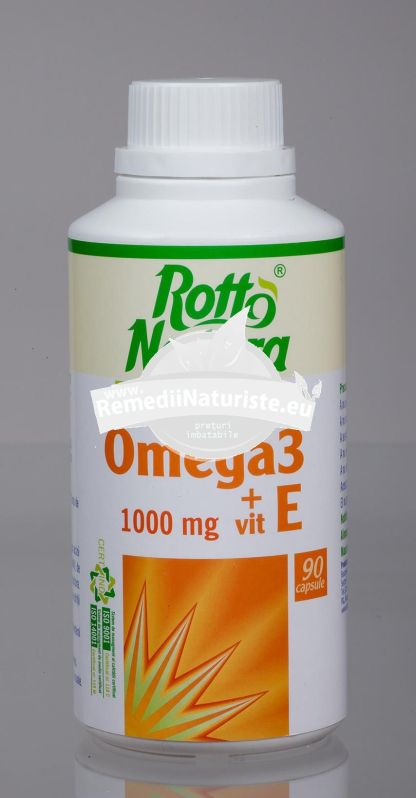OMEGA 3 1000mg+VITAMINA E 90cps ROTTA NATURA Tratament naturist regleaza sistemului imunitar nutritie sanatoasa aparatul cardiovascular regleaza colesterolul si trigliceridele