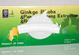 GINKGO BILOBA+ROYAL JELLY+GINSENG 10FIOLE NATURALIA DIET Tratament naturist tonic al sistemului nervos central stres memorie concentrare