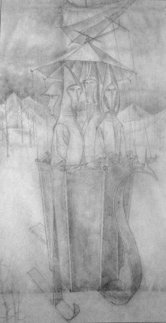 Expedición del Aqua Áurea (Dibujo Previo), 1962.