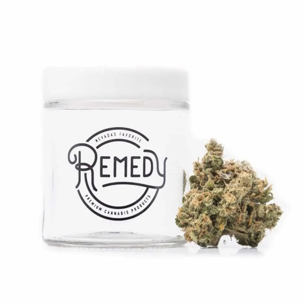 blue dream bud next to Remedy glass jar