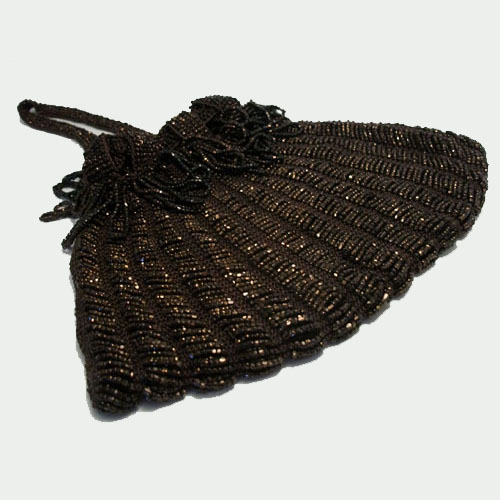 Art Deco brown seed bead drawstring purse-the remix vintage fashion