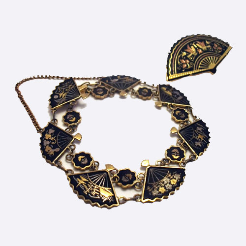 damascene bracelet pin set - remix vintage clothing