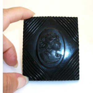 art-deco-bakelite-black-cameo-pin-Remix Vintage Clothing