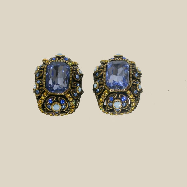 heidi daus periwinkle rhinestone clip earrings-the remix vintage fashion