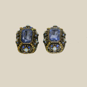 heidi daus periwinkle rhinestone clip earrings-the remix vintage fashion