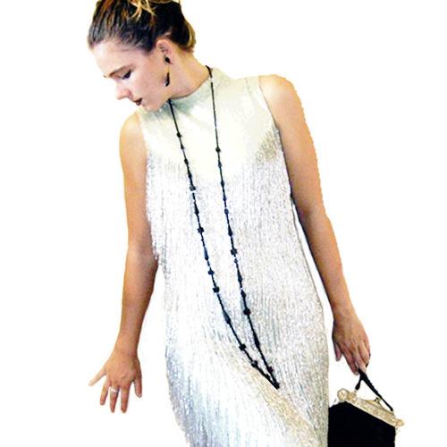 flapper jet art deco vintage necklace- Remix Vintage Clothing