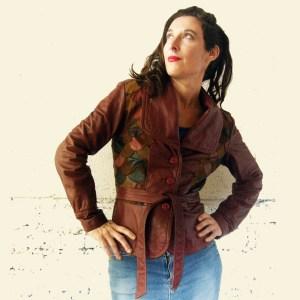 70s leather scale jacket - Remix Vintage fashion