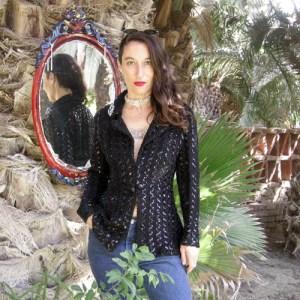 70s Sequin knit disco jacket-remix vintage fashion
