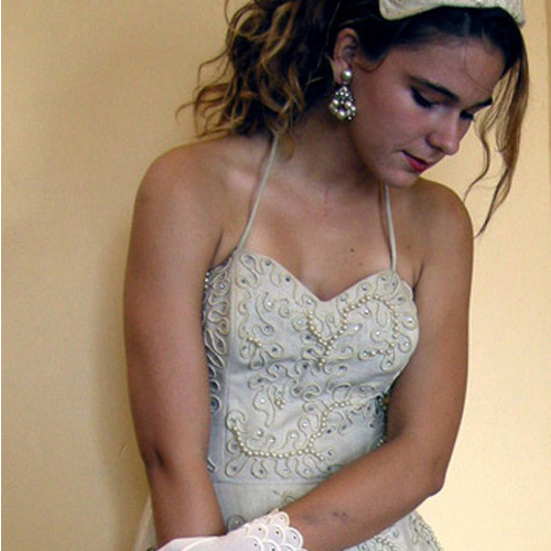 50s sweetheart strapless linen dress-the remix vintage fashion