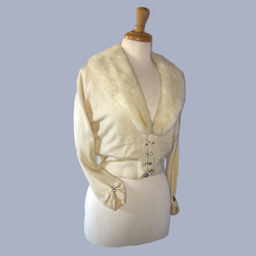 50s Barton Cashmere Cardigan Mink collar-the remix vintage fashion
