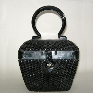 black wicker handbag lucite handle hemphill wells-the remix vintage fashion