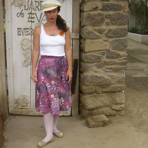 poly print skirt-the remix vintage fashion