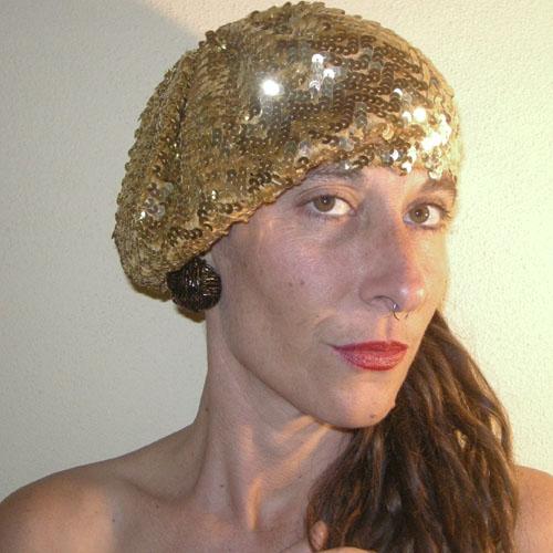 gold sequin disco beret-the remix vintage fashion
