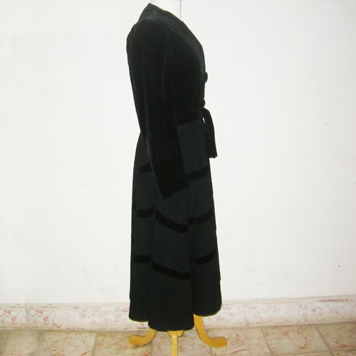 50s black wool velvet coat fit flare style-the remix vintage fashion