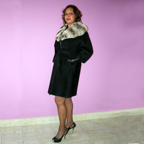 suede swing coat fur collar rex rabbit 60s belt glove sleeve