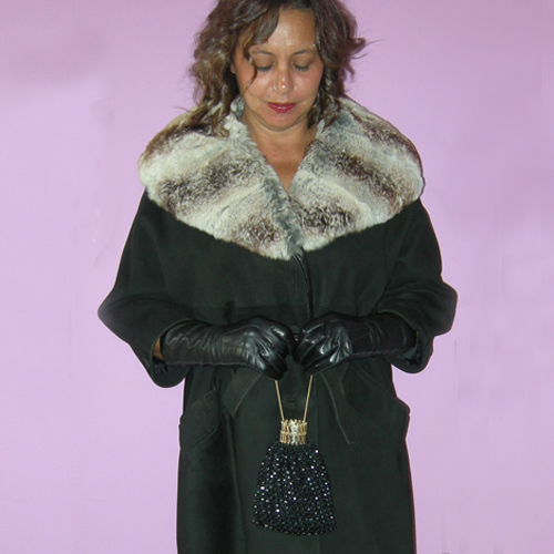 suedce swing coat fur collar rex rabbit 60s mod-the remix vintage fashion