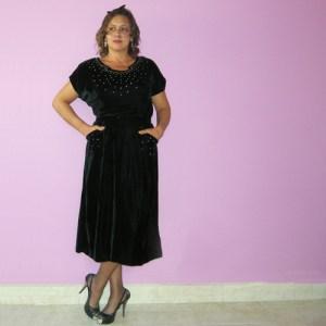gloria swanson dress velvet 40s rhinestones-the remix vintage fashion
