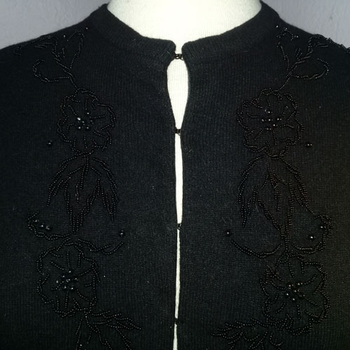 50s beaded cardigan black wool-the remix vintage fashion