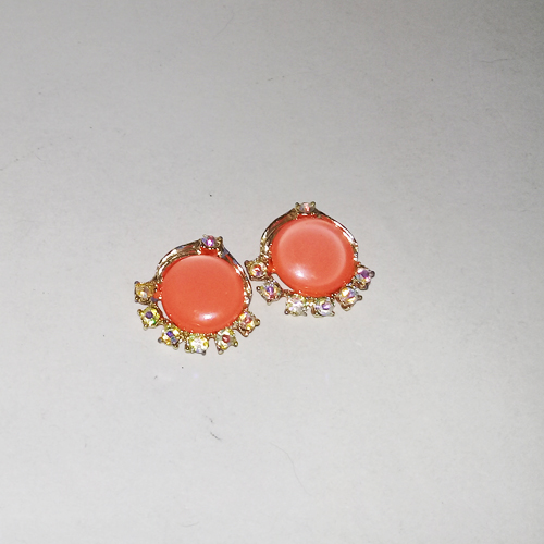 orange moonglow earrings coro unsigned clip back-the remix vintage fashion