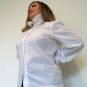 80s pie crust blouse white long sleeves-the remix vintage fashion