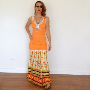 cos cob skirt 70s Maxi Hippy boho print-the remix vintage fashion