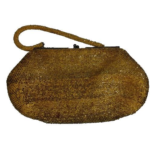 Gold Yellow Beaded Purse Clutch handbag 50s filigree clasp-the remix vintage fashion