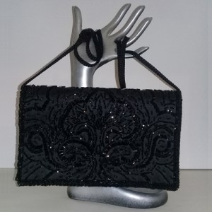 La Regale clutch purse handbag black beaded-the remix vintage fashion