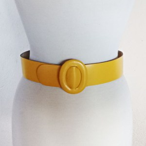 80s yellow belt saffron leather calderon-the remix vintage fashion