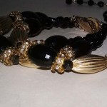 50s jewelry set duboff jet tri strand necklace bracelet clip earrings-the remix vintage fashion
