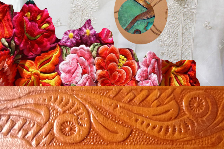 mexican vintage guayabera copper jewelry tooled leather oaxaca embroidery-the remix vintage fashion