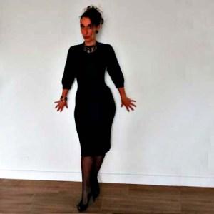 50s knit dress black wool classic style-the remix vintage fashion
