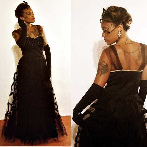 50s tulle dress gown black rhinesone prom cotillion-the remix vintage fashion