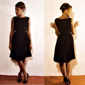 50s chiffon dress black silk rhinestones prom-the remix vintage fashion
